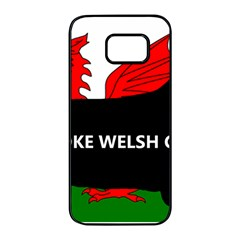 Pembroke Welsh Corgi Silhouette Wales Flag Name Samsung Galaxy S7 edge Black Seamless Case