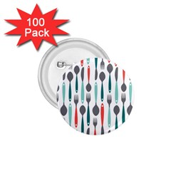 Spoon Fork Knife Pattern 1 75  Buttons (100 Pack)