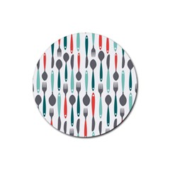 Spoon Fork Knife Pattern Rubber Coaster (round)