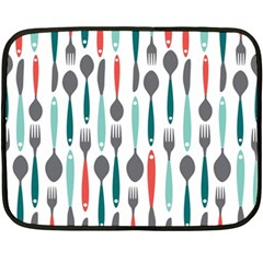 Spoon Fork Knife Pattern Fleece Blanket (mini)