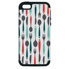 Spoon Fork Knife Pattern Apple Iphone 5 Hardshell Case (pc+silicone)