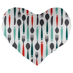 Spoon Fork Knife Pattern Large 19  Premium Heart Shape Cushions