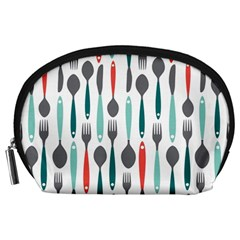 Spoon Fork Knife Pattern Accessory Pouches (large)