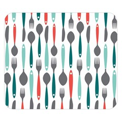 Spoon Fork Knife Pattern Double Sided Flano Blanket (small)