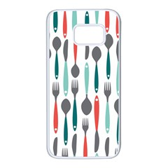 Spoon Fork Knife Pattern Samsung Galaxy S7 White Seamless Case