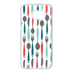 Spoon Fork Knife Pattern Samsung Galaxy S7 edge White Seamless Case
