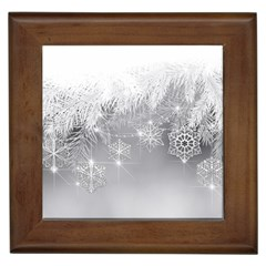 New Year Holiday Snowflakes Tree Branches Framed Tiles