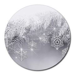 New Year Holiday Snowflakes Tree Branches Round Mousepads