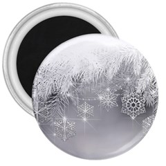 New Year Holiday Snowflakes Tree Branches 3  Magnets