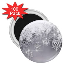 New Year Holiday Snowflakes Tree Branches 2 25  Magnets (100 Pack)