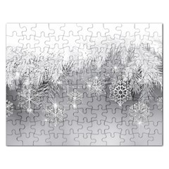 New Year Holiday Snowflakes Tree Branches Rectangular Jigsaw Puzzl