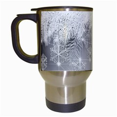 New Year Holiday Snowflakes Tree Branches Travel Mugs (white)