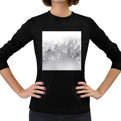 New Year Holiday Snowflakes Tree Branches Women s Long Sleeve Dark T Shirts