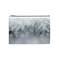 New Year Holiday Snowflakes Tree Branches Cosmetic Bag (medium)