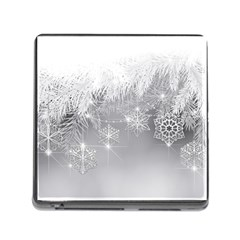 New Year Holiday Snowflakes Tree Branches Memory Card Reader (square)