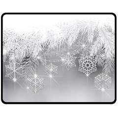 New Year Holiday Snowflakes Tree Branches Fleece Blanket (medium)