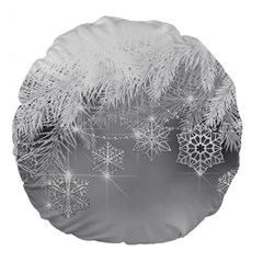 New Year Holiday Snowflakes Tree Branches Large 18  Premium Round Cushions