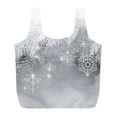 New Year Holiday Snowflakes Tree Branches Full Print Recycle Bags (l)