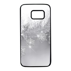 New Year Holiday Snowflakes Tree Branches Samsung Galaxy S7 Black Seamless Case
