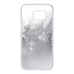 New Year Holiday Snowflakes Tree Branches Samsung Galaxy S7 edge White Seamless Case