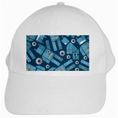 Seamless Pattern Robot White Cap