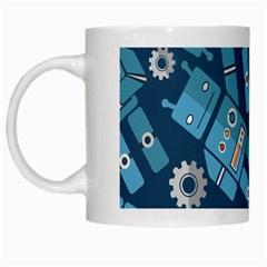 Seamless Pattern Robot White Mugs