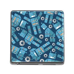 Seamless Pattern Robot Memory Card Reader (square)