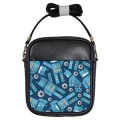 Seamless Pattern Robot Girls Sling Bags