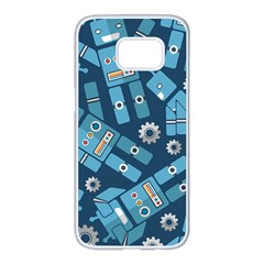 Seamless Pattern Robot Samsung Galaxy S7 edge White Seamless Case