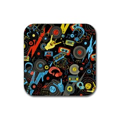 Music Pattern Rubber Square Coaster (4 Pack)