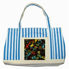 Music Pattern Striped Blue Tote Bag