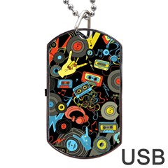 Music Pattern Dog Tag Usb Flash (two Sides)