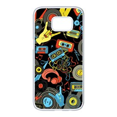 Music Pattern Samsung Galaxy S7 edge White Seamless Case