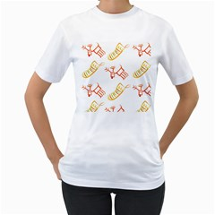 Stocking Reindeer Wood Pattern  Women s T Shirt (white) (two Sided)