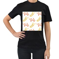Stocking Reindeer Wood Pattern  Women s T Shirt (black) (two Sided)