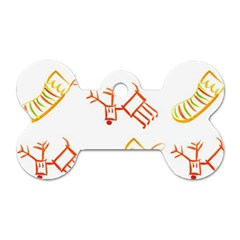 Stocking Reindeer Wood Pattern  Dog Tag Bone (two Sides)