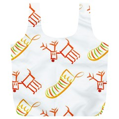 Stocking Reindeer Wood Pattern  Full Print Recycle Bags (l)