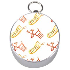 Stocking Reindeer Wood Pattern  Silver Compasses