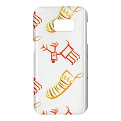 Stocking Reindeer Wood Pattern  Samsung Galaxy S7 Hardshell Case