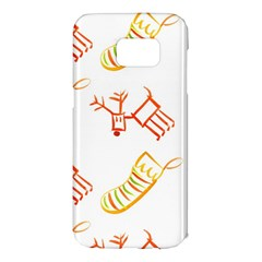 Stocking Reindeer Wood Pattern  Samsung Galaxy S7 Edge Hardshell Case
