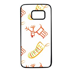 Stocking Reindeer Wood Pattern  Samsung Galaxy S7 Black Seamless Case
