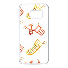 Stocking Reindeer Wood Pattern  Samsung Galaxy S7 White Seamless Case