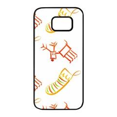 Stocking Reindeer Wood Pattern  Samsung Galaxy S7 edge Black Seamless Case