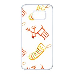 Stocking Reindeer Wood Pattern  Samsung Galaxy S7 edge White Seamless Case