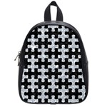 PUZZLE1 BLACK MARBLE & GRAY MARBLE School Bag (Small) Front