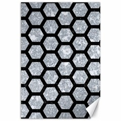 Hexagon2 Black Marble & Gray Marble (r) Canvas 12  X 18