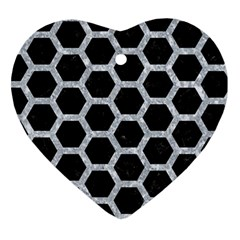 Hexagon2 Black Marble & Gray Marble Heart Ornament (two Sides)