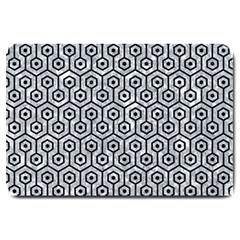 Hexagon1 Black Marble & Gray Marble (r) Large Doormat