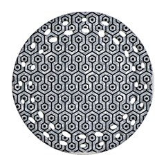 Hexagon1 Black Marble & Gray Marble (r) Round Filigree Ornament (two Sides)
