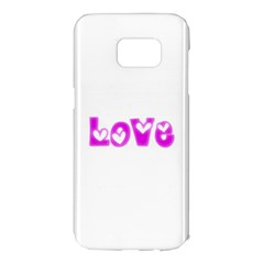 Pink Love Hearts Typography Samsung Galaxy S7 Edge Hardshell Case